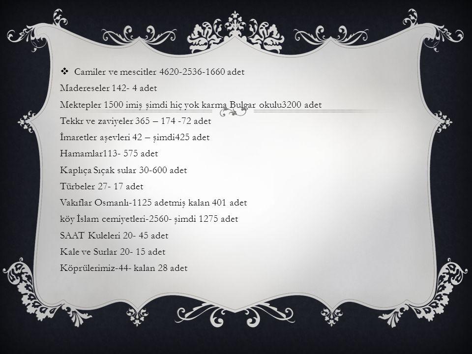  Camiler ve mescitler 4620-2536-1660 adet Madereseler 142- 4 adet Mektepler 1500 imiş şimdi hiç yok karma Bulgar okulu3200 adet Tekkr ve zaviyeler 36