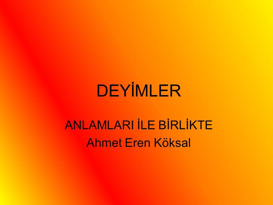 DEYİMLER ANLAMLARI İLE BİRLİKTE Ahmet Eren Köksal