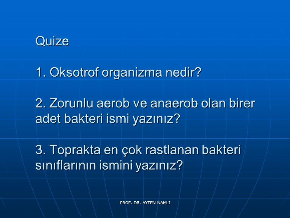 Quize 1. Oksotrof organizma nedir? 2. Zorunlu aerob ve anaerob olan birer adet bakteri ismi yazınız? 3. Toprakta en çok rastlanan bakteri sınıflarının