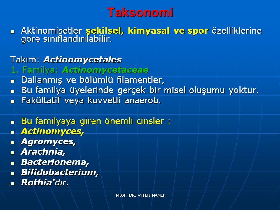 Taksonomi Aktinomisetler şekilsel, kimyasal ve spor özelliklerine göre sınıflandırılabilir. Aktinomisetler şekilsel, kimyasal ve spor özelliklerine gö