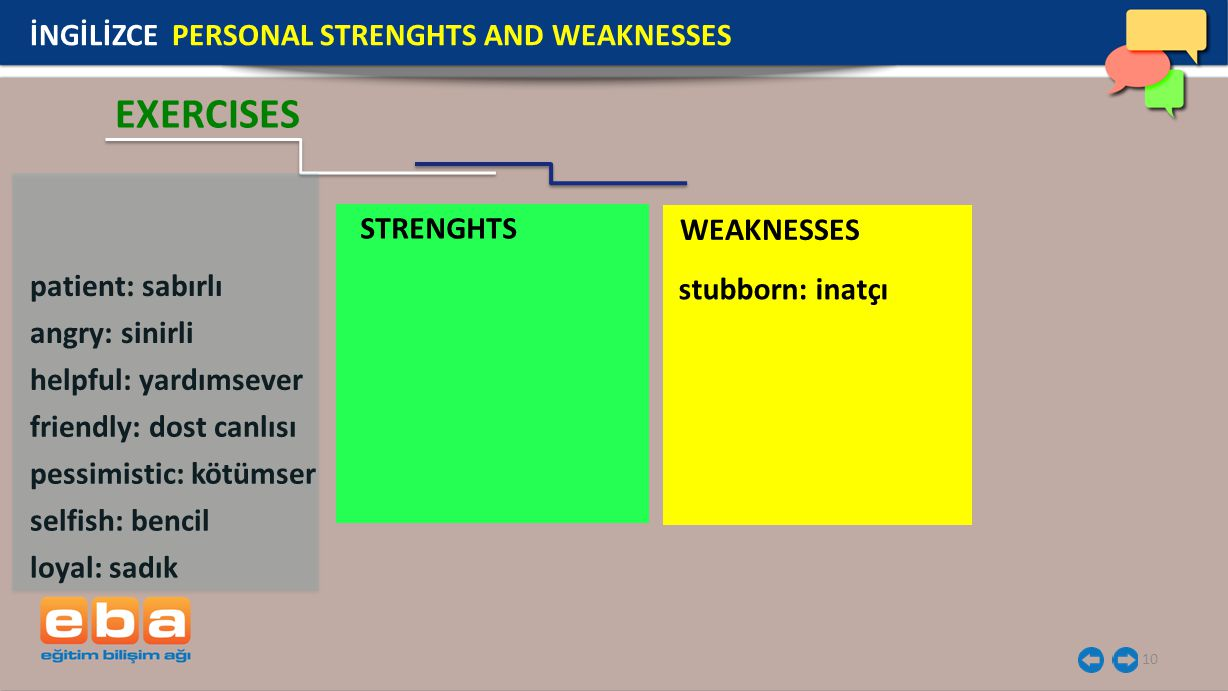 STRENGHTS WEAKNESSES 10 İNGİLİZCE PERSONAL STRENGHTS AND WEAKNESSES EXERCISES patient: sabırlı angry: sinirli helpful: yardımsever friendly: dost canl