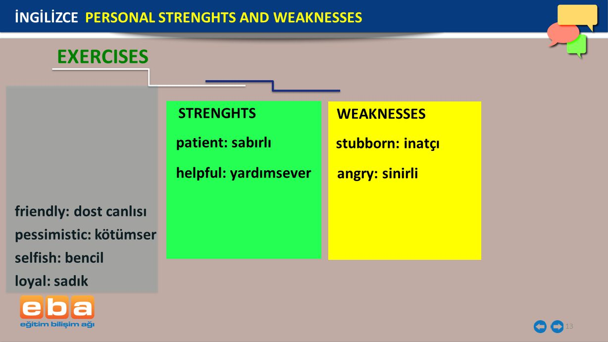 STRENGHTS WEAKNESSES 13 İNGİLİZCE PERSONAL STRENGHTS AND WEAKNESSES EXERCISES friendly: dost canlısı pessimistic: kötümser selfish: bencil loyal: sadı