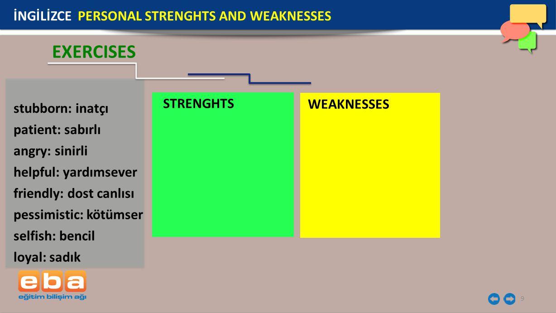 9 stubborn: inatçı İNGİLİZCE PERSONAL STRENGHTS AND WEAKNESSES EXERCISES patient: sabırlı angry: sinirli helpful: yardımsever friendly: dost canlısı pessimistic: kötümser selfish: bencil loyal: sadık STRENGHTS WEAKNESSES