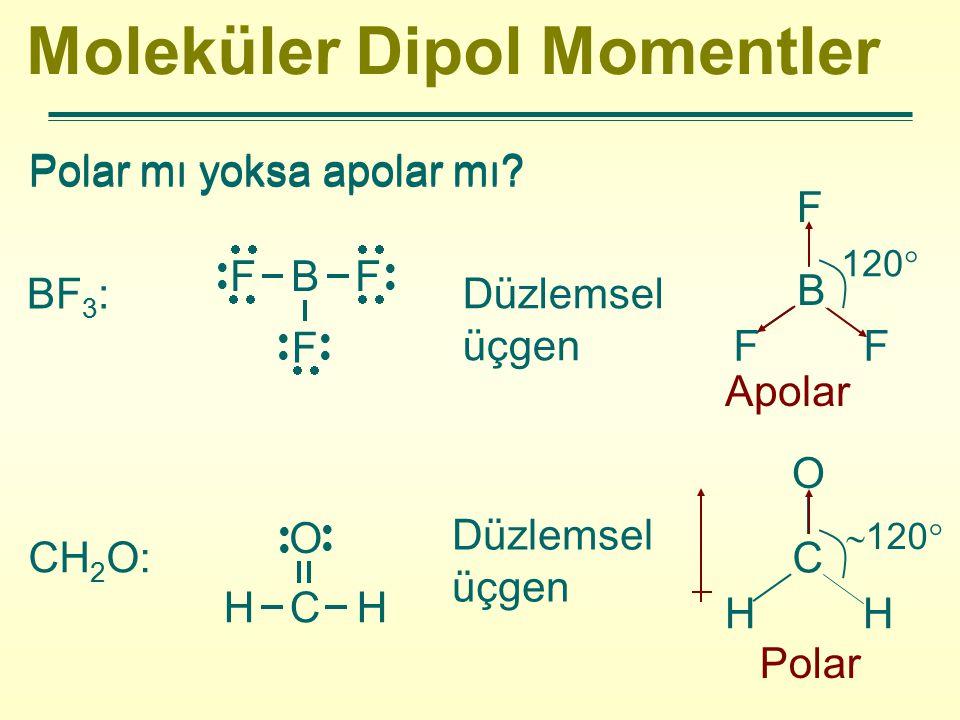 Moleküler Dipol Momentler Polar mı yoksa apolar mı? BF 3 : Düzlemsel üçgen Apolar CH 2 O:  F B F F  H C H O  B F FF 120  C O HH Polar  120