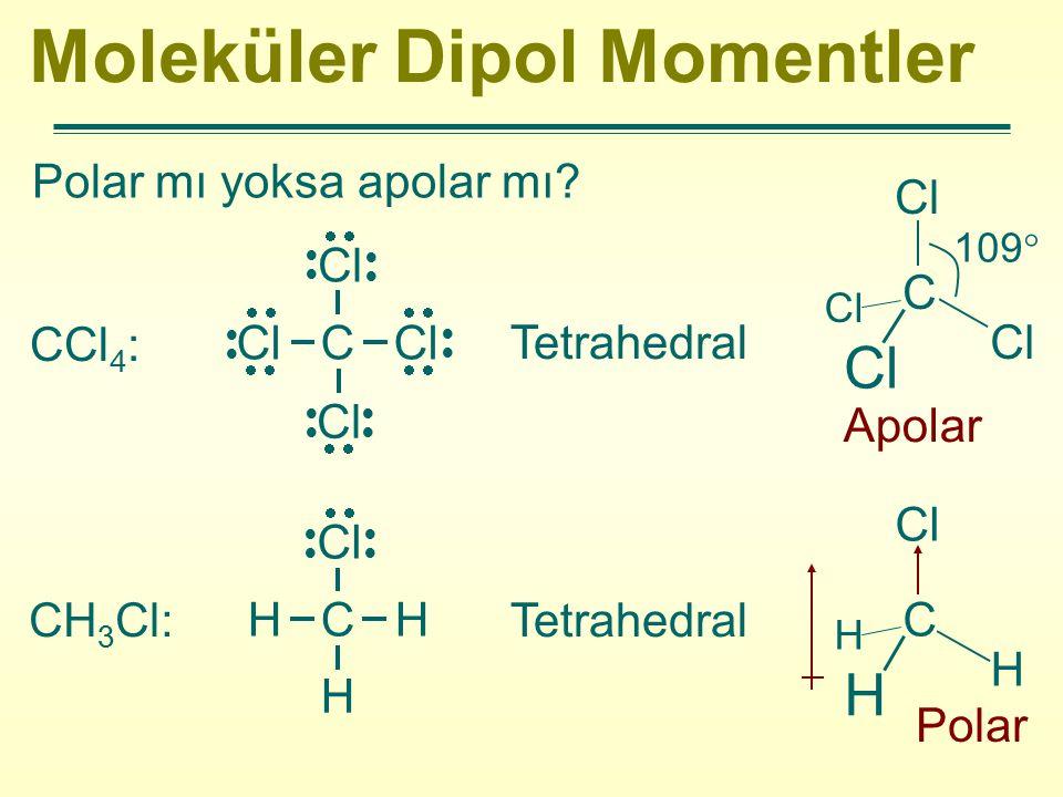 Moleküler Dipol Momentler Polar mı yoksa apolar mı? CCl 4 : Tetrahedral Apolar CH 3 Cl:Tetrahedral Polar Cl C Cl  Cl  Cl  H C H H Cl  C Cl