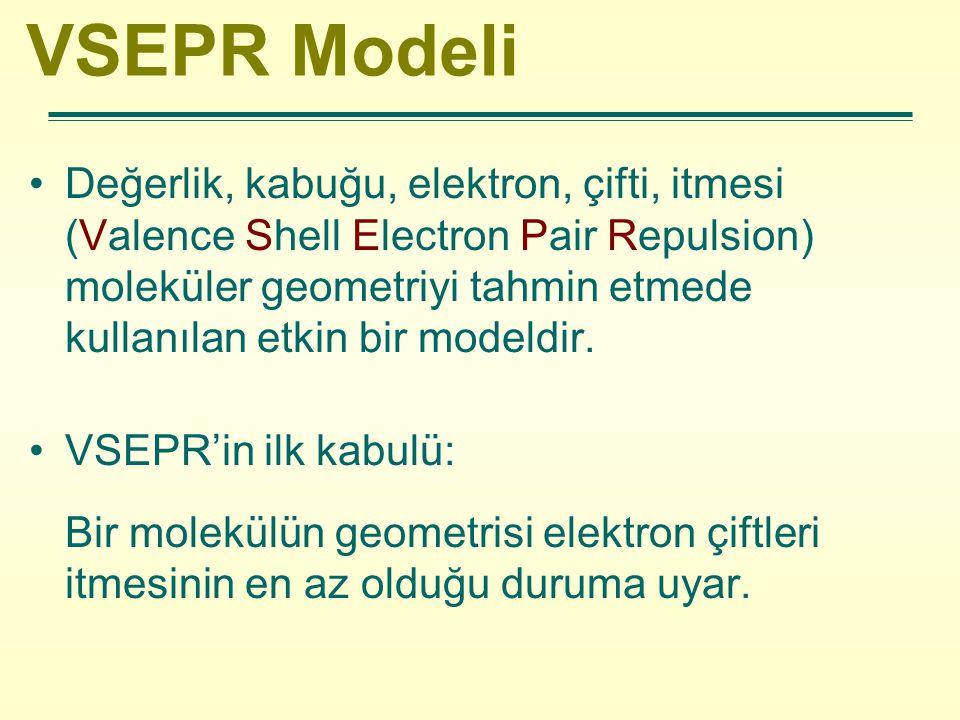 VSEPR Modeli Değerlik, kabuğu, elektron, çifti, itmesi (Valence Shell Electron Pair Repulsion) moleküler geometriyi tahmin etmede kullanılan etkin bir