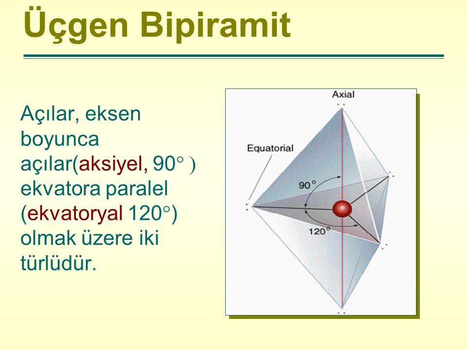 Üçgen Bipiramit Açılar, eksen boyunca açılar(aksiyel, 90  ekvatora paralel (ekvatoryal 120  ) olmak üzere iki türlüdür.
