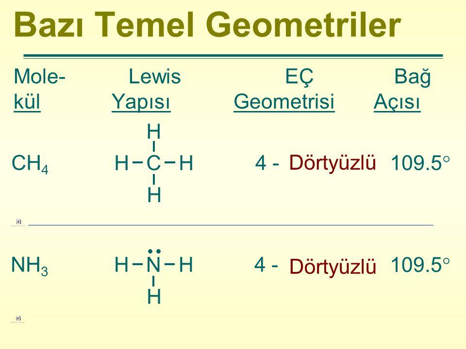 Bazı Temel Geometriler Mole- Lewis EÇ Bağ kül Yapısı Geometrisi Açısı CH 4 4 - Dörtyüzlü 109.5  H C H H H NH 3 4 - 109.5  H N H H  Dörtyüzlü