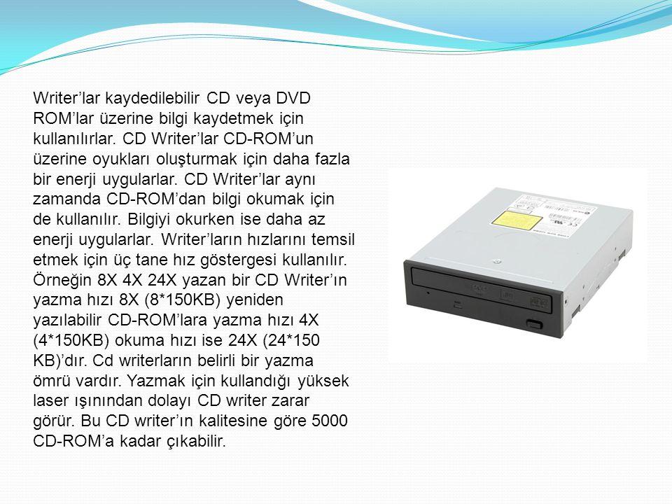 Writer'lar kaydedilebilir CD veya DVD ROM'lar üzerine bilgi kaydetmek için kullanılırlar. CD Writer'lar CD-ROM'un üzerine oyukları oluşturmak için dah