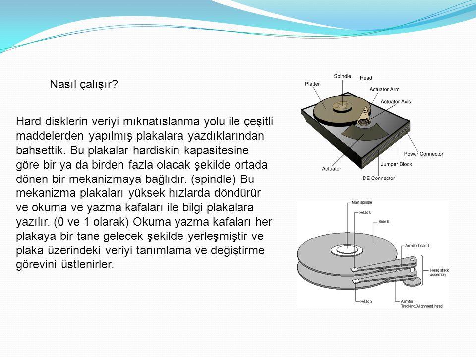 Nasıl çalışır? Hard disklerin veriyi mıknatıslanma yolu ile çeşitli maddelerden yapılmış plakalara yazdıklarından bahsettik. Bu plakalar hardiskin kap