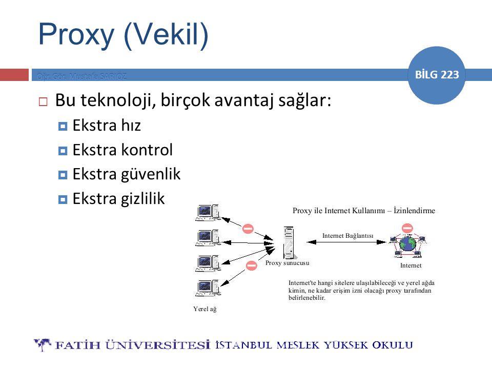 BİLG 223 Proxy (Vekil)  Bu teknoloji, birçok avantaj sağlar:  Ekstra hız  Ekstra kontrol  Ekstra güvenlik  Ekstra gizlilik
