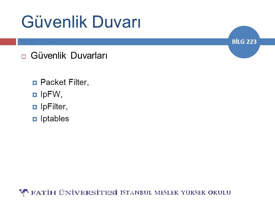 BİLG 223 Güvenlik Duvarı  Güvenlik Duvarları  Packet Filter,  IpFW,  IpFilter,  Iptables