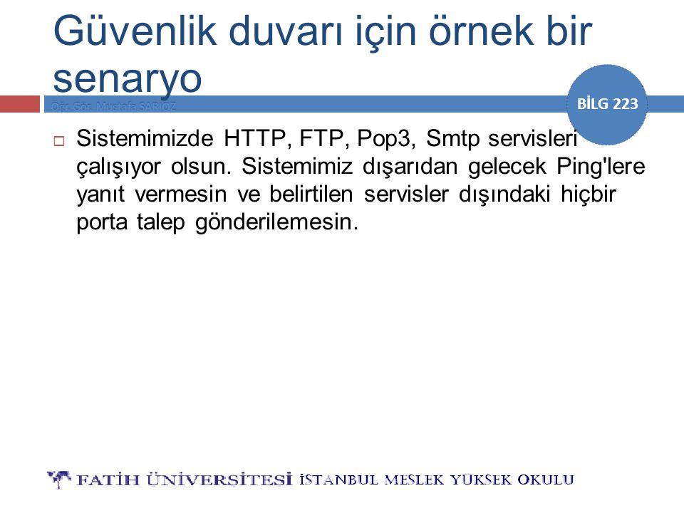 BİLG 223 Güvenlik duvarı için örnek bir senaryo  Sistemimizde HTTP, FTP, Pop3, Smtp servisleri çalışıyor olsun. Sistemimiz dışarıdan gelecek Ping'ler