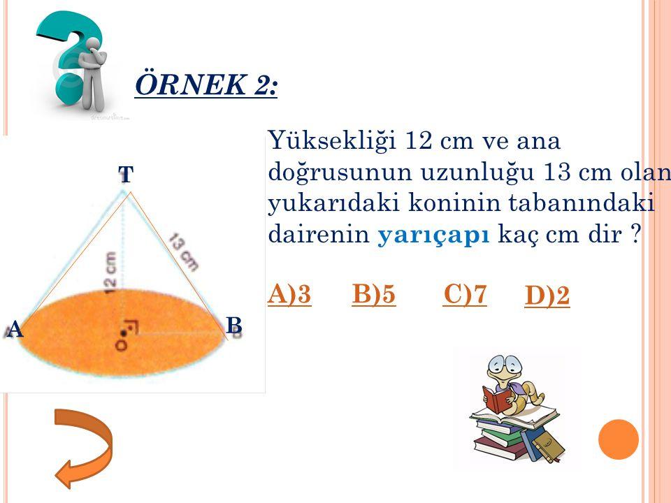 Ö RNEK 2: Yüksekliği 12 cm ve ana doğrusunun uzunluğu 13 cm olan yukarıdaki koninin tabanındaki dairenin yarıçapı kaç cm dir .
