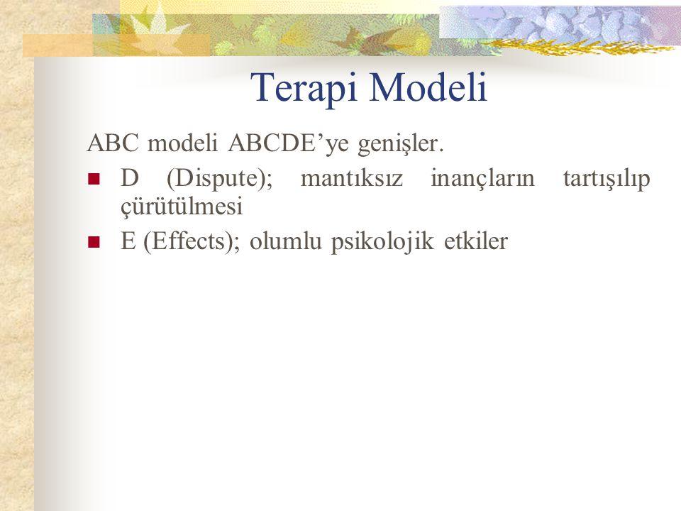 Terapi Modeli ABC modeli ABCDE'ye genişler. D (Dispute); mantıksız inançların tartışılıp çürütülmesi E (Effects); olumlu psikolojik etkiler