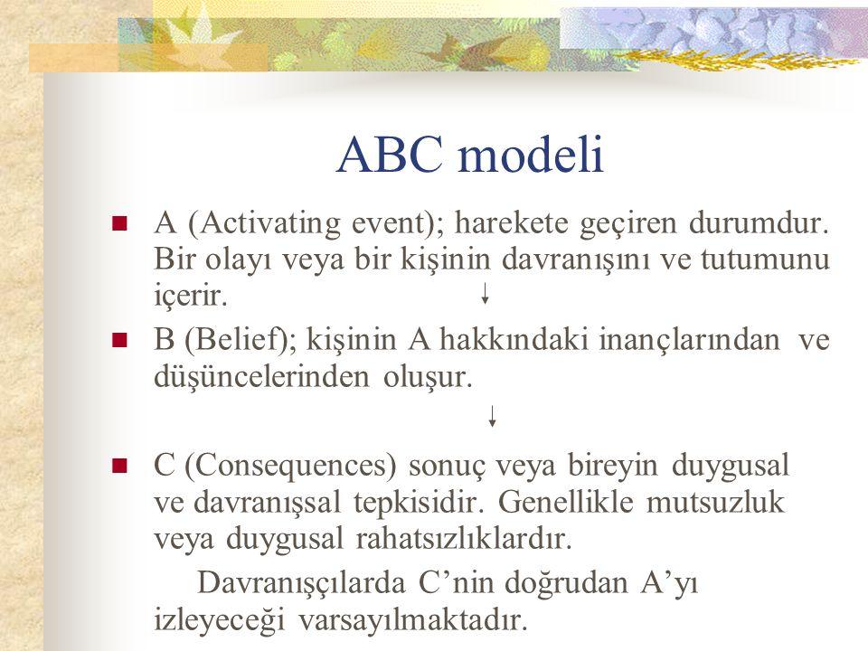ABC modeli A (Activating event); harekete geçiren durumdur. Bir olayı veya bir kişinin davranışını ve tutumunu içerir. B (Belief); kişinin A hakkındak