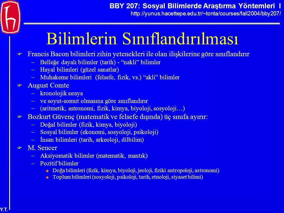 BBY 207: Sosyal Bilimlerde Araştırma Yöntemleri I http://yunus.hacettepe.edu.tr/~tonta/courses/fall2004/bby207/ Y.T. Bilimlerin Sınıflandırılması  Fr