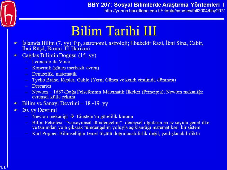 BBY 207: Sosyal Bilimlerde Araştırma Yöntemleri I http://yunus.hacettepe.edu.tr/~tonta/courses/fall2004/bby207/ Y.T. Bilim Tarihi III  İslamda Bilim