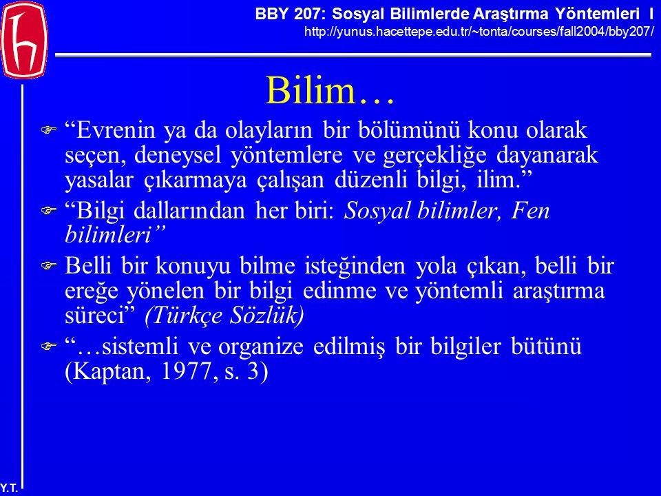 """BBY 207: Sosyal Bilimlerde Araştırma Yöntemleri I http://yunus.hacettepe.edu.tr/~tonta/courses/fall2004/bby207/ Y.T. Bilim…  """"Evrenin ya da olayların"""