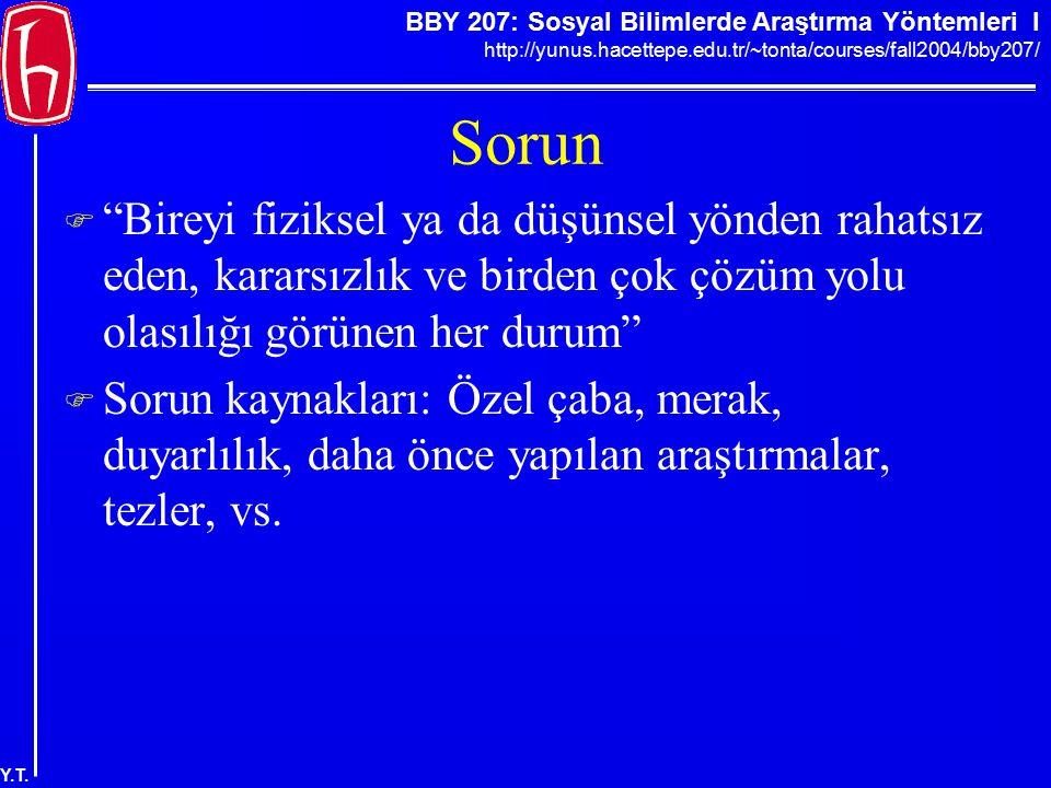 """BBY 207: Sosyal Bilimlerde Araştırma Yöntemleri I http://yunus.hacettepe.edu.tr/~tonta/courses/fall2004/bby207/ Y.T. Sorun  """"Bireyi fiziksel ya da dü"""