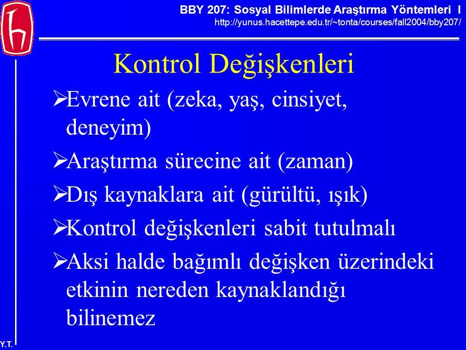 BBY 207: Sosyal Bilimlerde Araştırma Yöntemleri I http://yunus.hacettepe.edu.tr/~tonta/courses/fall2004/bby207/ Y.T. Kontrol Değişkenleri  Evrene ait
