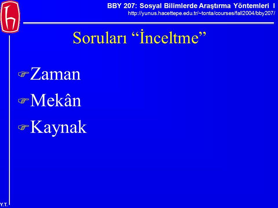 """BBY 207: Sosyal Bilimlerde Araştırma Yöntemleri I http://yunus.hacettepe.edu.tr/~tonta/courses/fall2004/bby207/ Y.T. Soruları """"İnceltme""""  Zaman  Mek"""