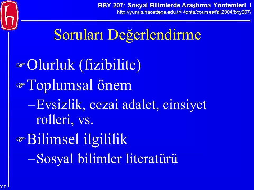 BBY 207: Sosyal Bilimlerde Araştırma Yöntemleri I http://yunus.hacettepe.edu.tr/~tonta/courses/fall2004/bby207/ Y.T. Soruları Değerlendirme  Olurluk