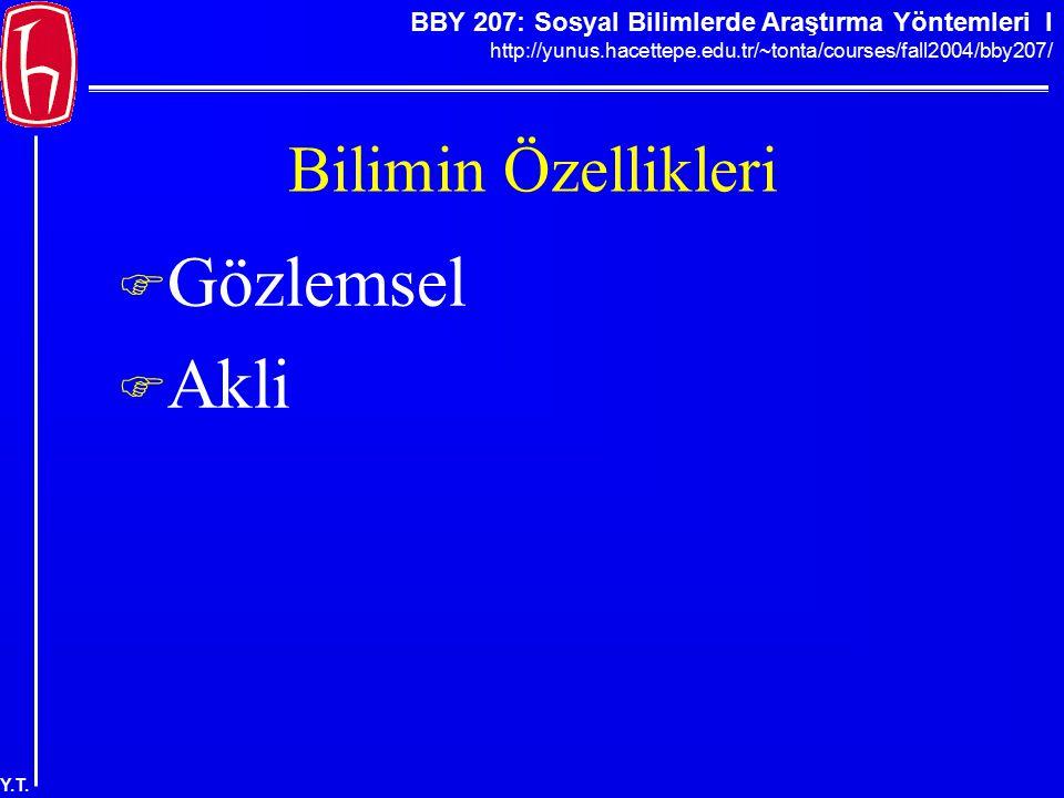 BBY 207: Sosyal Bilimlerde Araştırma Yöntemleri I http://yunus.hacettepe.edu.tr/~tonta/courses/fall2004/bby207/ Y.T. Bilimin Özellikleri  Gözlemsel 