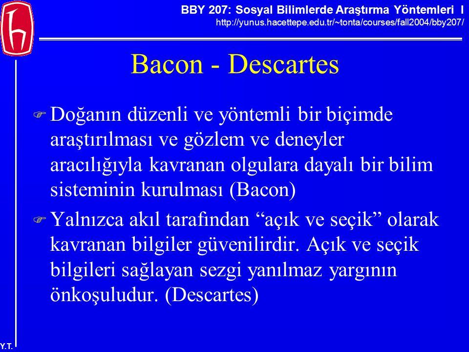 BBY 207: Sosyal Bilimlerde Araştırma Yöntemleri I http://yunus.hacettepe.edu.tr/~tonta/courses/fall2004/bby207/ Y.T. Bacon - Descartes  Doğanın düzen
