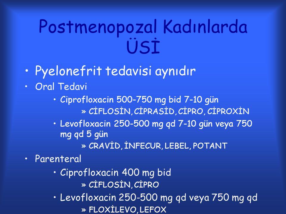 Postmenopozal Kadınlarda ÜSİ Pyelonefrit tedavisi aynıdır Oral Tedavi Ciprofloxacin 500-750 mg bid 7-10 gün »CİFLOSİN, CİPRASİD, CİPRO, CİPROXİN Levof
