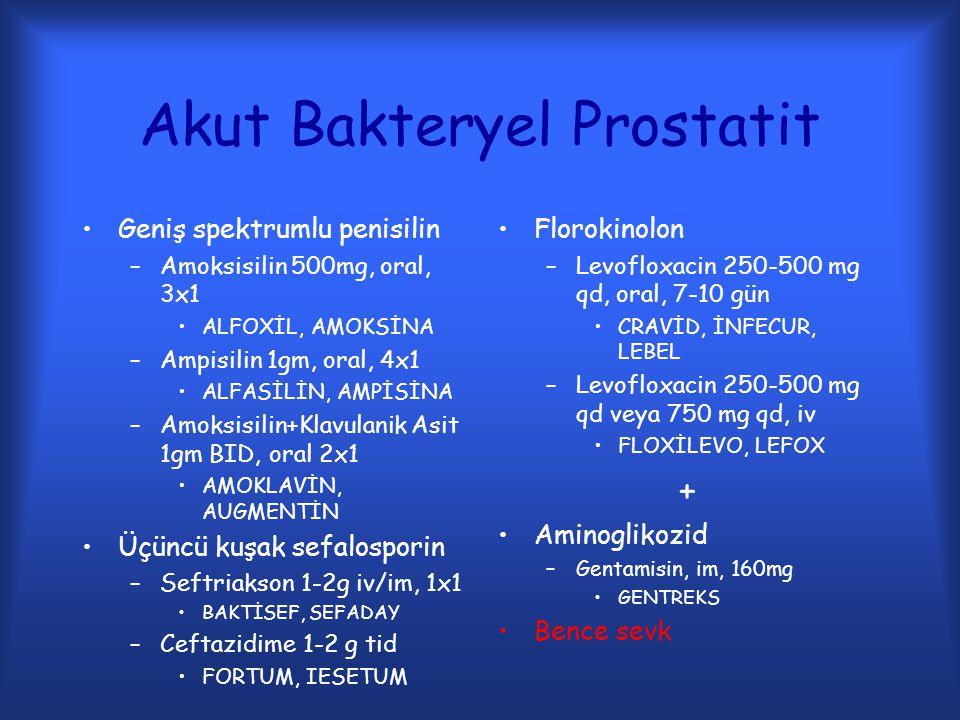 Akut Bakteryel Prostatit Geniş spektrumlu penisilin –Amoksisilin 500mg, oral, 3x1 ALFOXİL, AMOKSİNA –Ampisilin 1gm, oral, 4x1 ALFASİLİN, AMPİSİNA –Amo