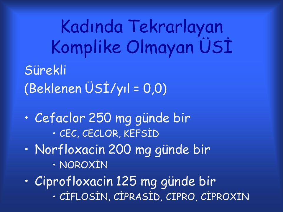 Kadında Tekrarlayan Komplike Olmayan ÜSİ Sürekli (Beklenen ÜSİ/yıl = 0,0) Cefaclor 250 mg günde bir CEC, CECLOR, KEFSİD Norfloxacin 200 mg günde bir N