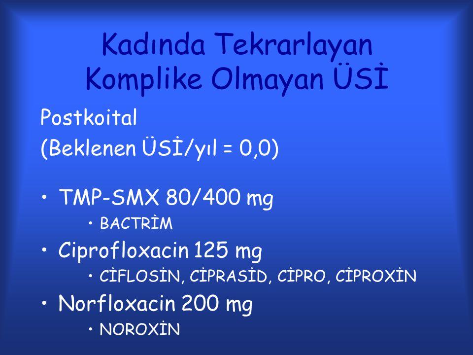 Kadında Tekrarlayan Komplike Olmayan ÜSİ Postkoital (Beklenen ÜSİ/yıl = 0,0) TMP-SMX 80/400 mg BACTRİM Ciprofloxacin 125 mg CİFLOSİN, CİPRASİD, CİPRO,