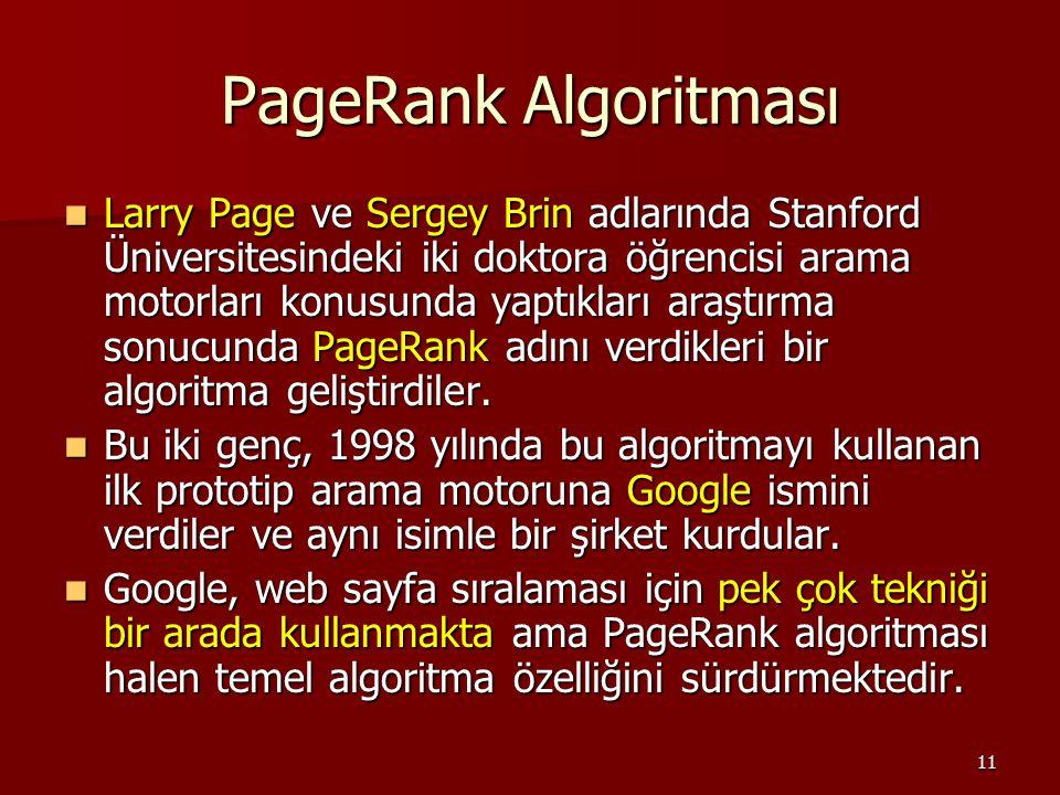 11 PageRank Algoritması Larry Page ve Sergey Brin adlarında Stanford Üniversitesindeki iki doktora öğrencisi arama motorları konusunda yaptıkları araştırma sonucunda PageRank adını verdikleri bir algoritma geliştirdiler.