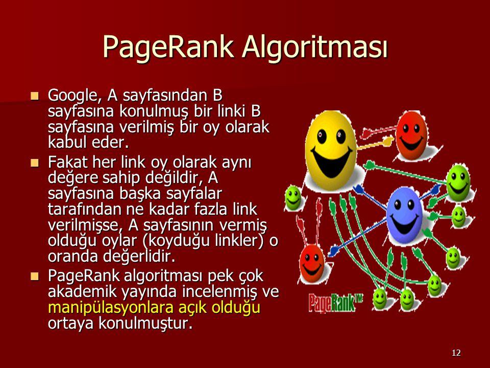 12 PageRank Algoritması Google, A sayfasından B sayfasına konulmuş bir linki B sayfasına verilmiş bir oy olarak kabul eder.