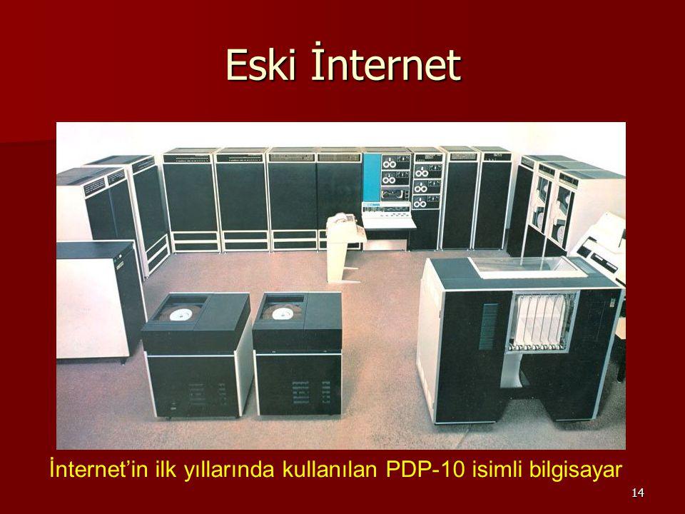 14 Eski İnternet İnternet'in ilk yıllarında kullanılan PDP-10 isimli bilgisayar