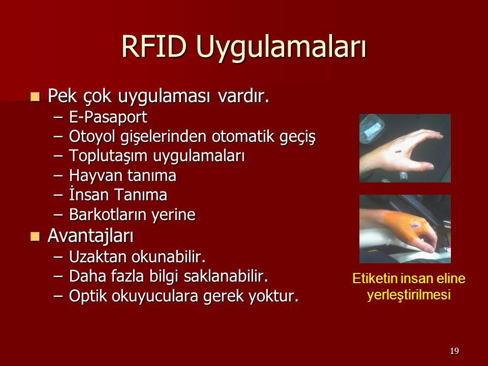 19 RFID Uygulamaları Pek çok uygulaması vardır. Pek çok uygulaması vardır.