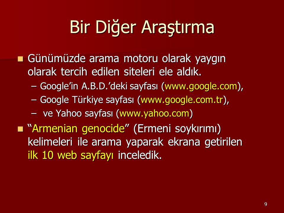 10 Sonuçlar Soykırım propagandası yapan Soykırım iddiasının yalan olduğunu ortaya koyan Her iki tezi de içeren google.com811* google.com.tr631* yahoo.com9-1* * wikipedia.org sitesi (ağırlıklı olarak yine propaganda içeriklidir).