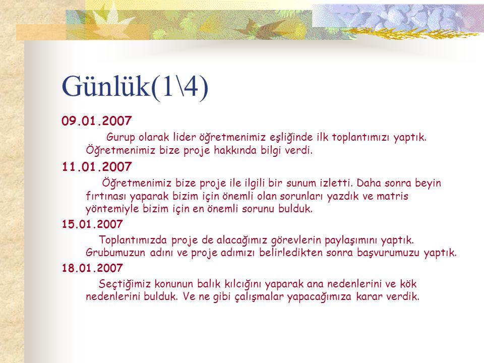 Günlük(1\4) 09.01.2007 Gurup olarak lider öğretmenimiz eşliğinde ilk toplantımızı yaptık.