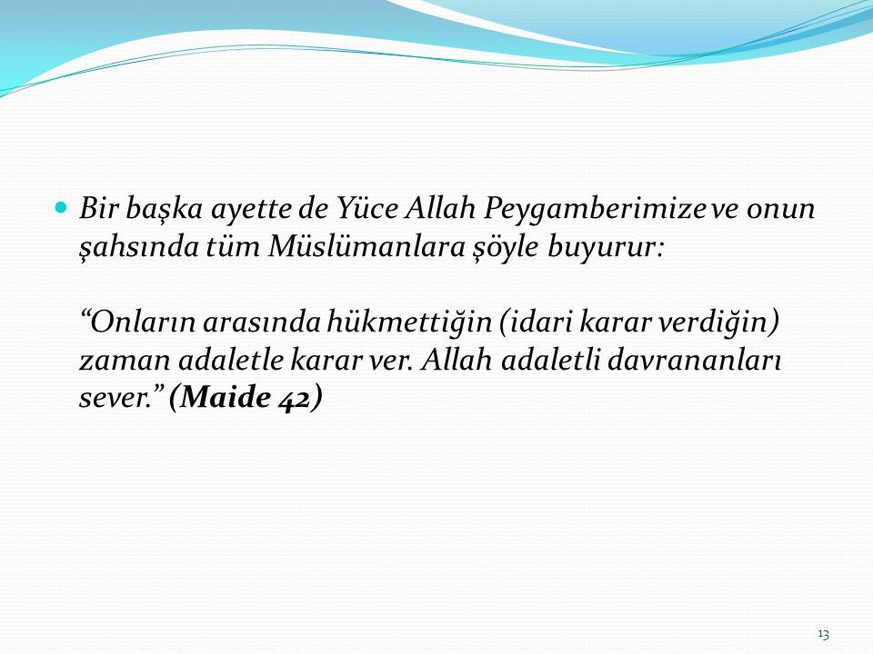 """Bir başka ayette de Yüce Allah Peygamberimize ve onun şahsında tüm Müslümanlara şöyle buyurur: """"Onların arasında hükmettiğin (idari karar verdiğin) za"""