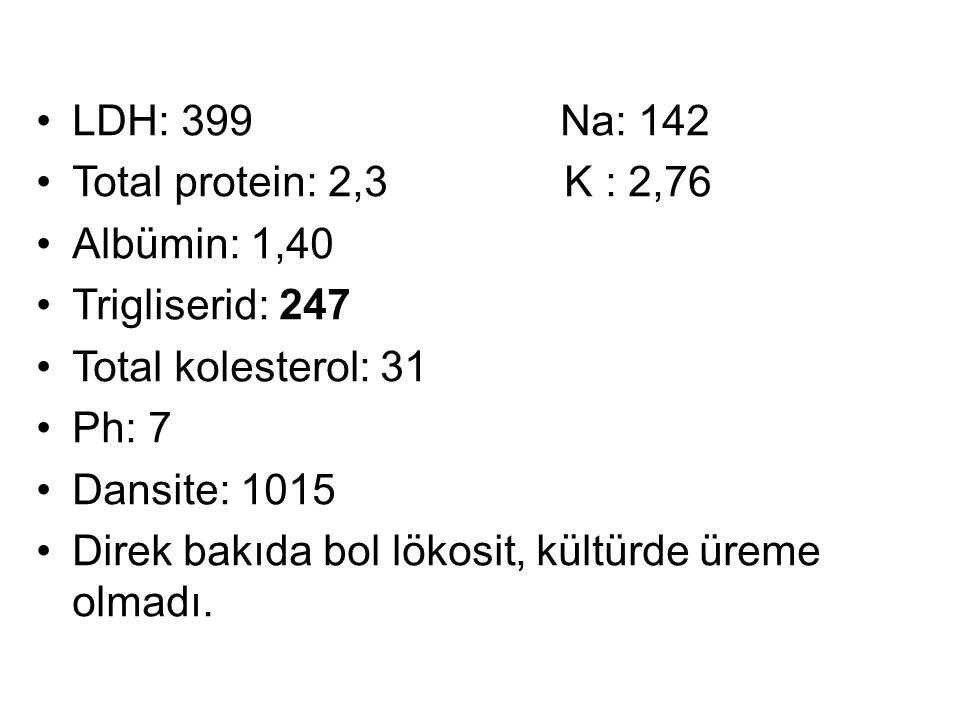 LDH: 399 Na: 142 Total protein: 2,3 K : 2,76 Albümin: 1,40 Trigliserid: 247 Total kolesterol: 31 Ph: 7 Dansite: 1015 Direk bakıda bol lökosit, kültürde üreme olmadı.