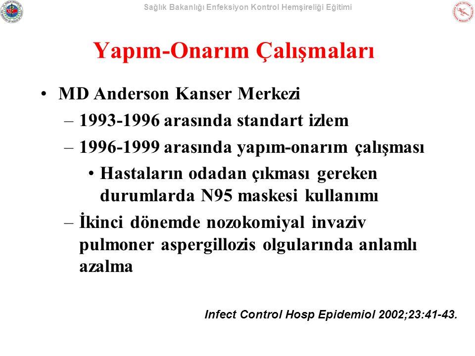 Sağlık Bakanlığı Enfeksiyon Kontrol Hemşireliği Eğitimi Yapım-Onarım Çalışmaları MD Anderson Kanser Merkezi –1993-1996 arasında standart izlem –1996-1