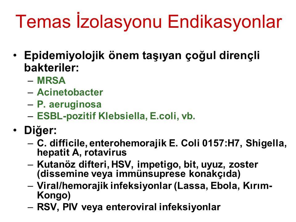 Temas İzolasyonu Endikasyonlar Epidemiyolojik önem taşıyan çoğul dirençli bakteriler: –MRSA –Acinetobacter –P. aeruginosa –ESBL-pozitif Klebsiella, E.