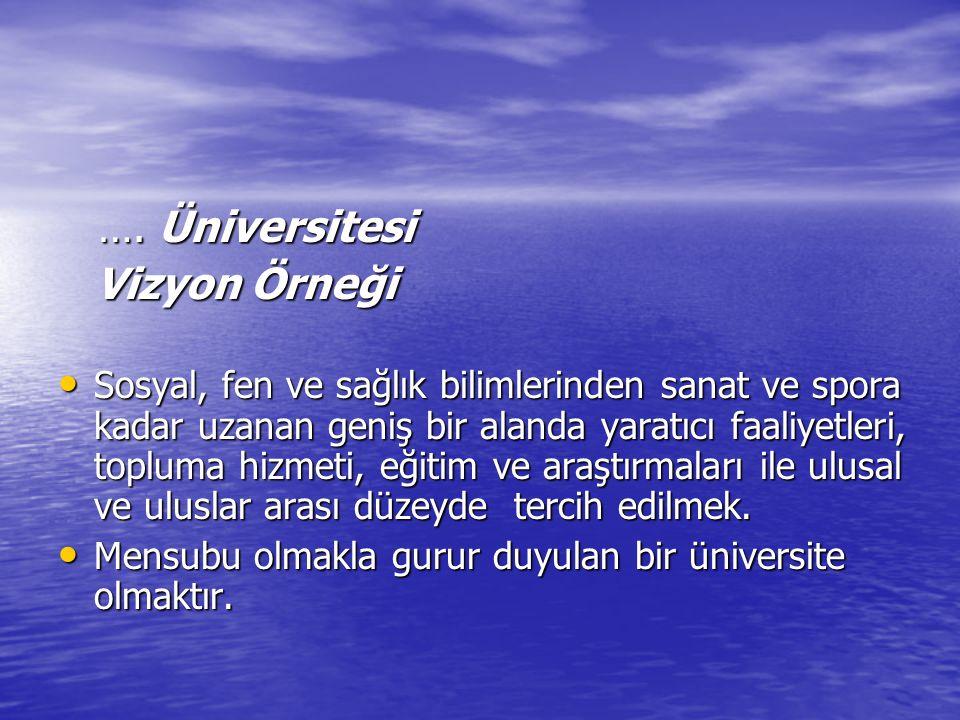 …. Üniversitesi …. Üniversitesi Vizyon Örneği Vizyon Örneği Sosyal, fen ve sağlık bilimlerinden sanat ve spora kadar uzanan geniş bir alanda yaratıcı