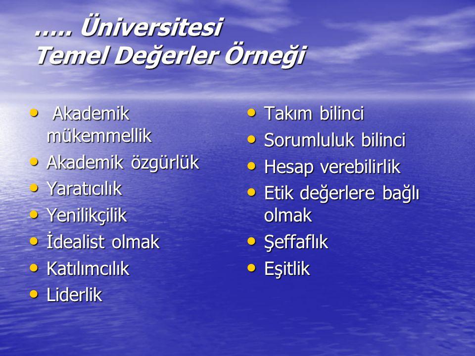 ….. Üniversitesi Temel Değerler Örneği Akademik mükemmellik Akademik mükemmellik Akademik özgürlük Akademik özgürlük Yaratıcılık Yaratıcılık Yenilikçi