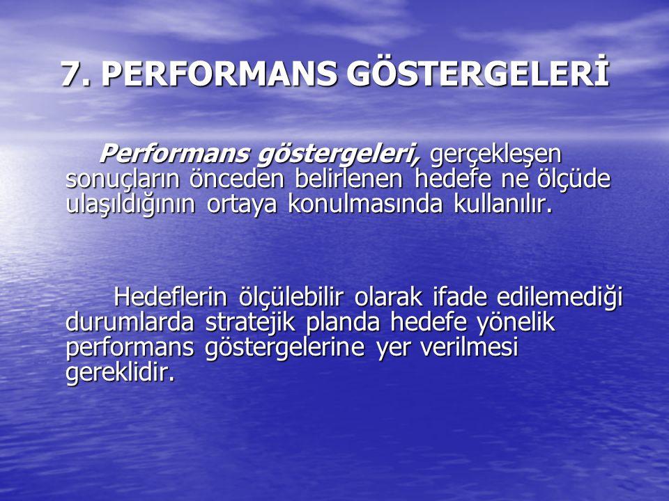 7. PERFORMANS GÖSTERGELERİ Performans göstergeleri, gerçekleşen sonuçların önceden belirlenen hedefe ne ölçüde ulaşıldığının ortaya konulmasında kulla