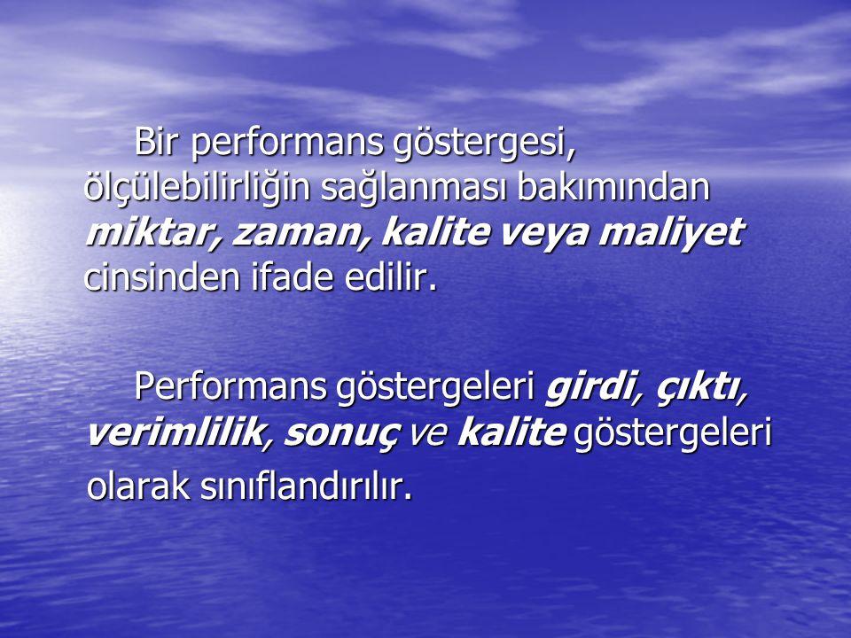 Bir performans göstergesi, ölçülebilirliğin sağlanması bakımından miktar, zaman, kalite veya maliyet cinsinden ifade edilir. Bir performans göstergesi