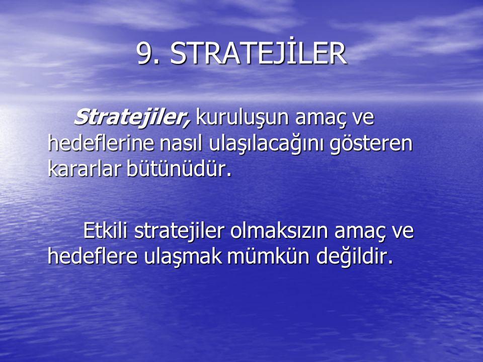 9. STRATEJİLER Stratejiler, kuruluşun amaç ve hedeflerine nasıl ulaşılacağını gösteren kararlar bütünüdür. Stratejiler, kuruluşun amaç ve hedeflerine