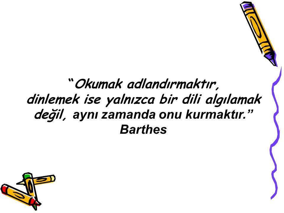 """""""Okumak adlandırmaktır, dinlemek ise yalnızca bir dili algılamak değil, aynı zamanda onu kurmaktır."""" Barthes"""