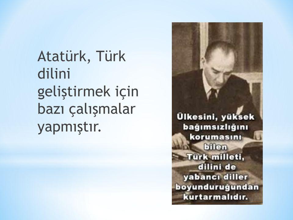 Atatürk, Türk dilini geliştirmek için bazı çalışmalar yapmıştır.